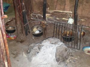The kitchen inside a hut