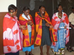 Our teachers after receiving gifts of kangas and beads from grateful parents.