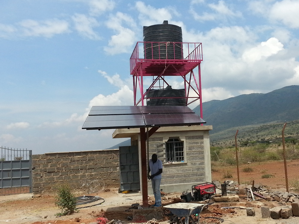 Borehole, tanks & solar powered pump